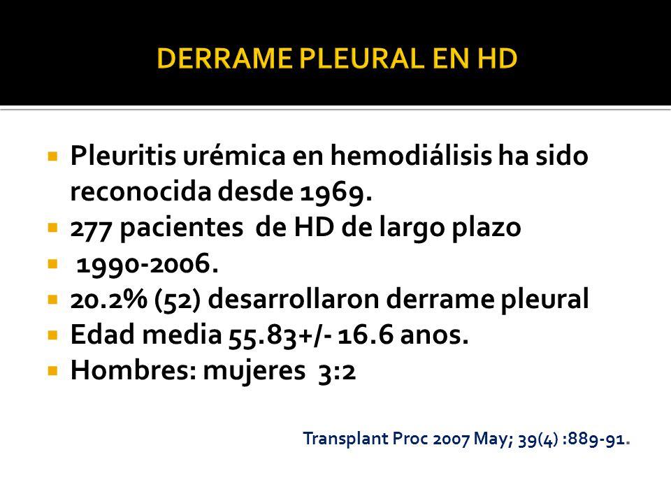 Pleuritis urémica en hemodiálisis ha sido reconocida desde 1969.