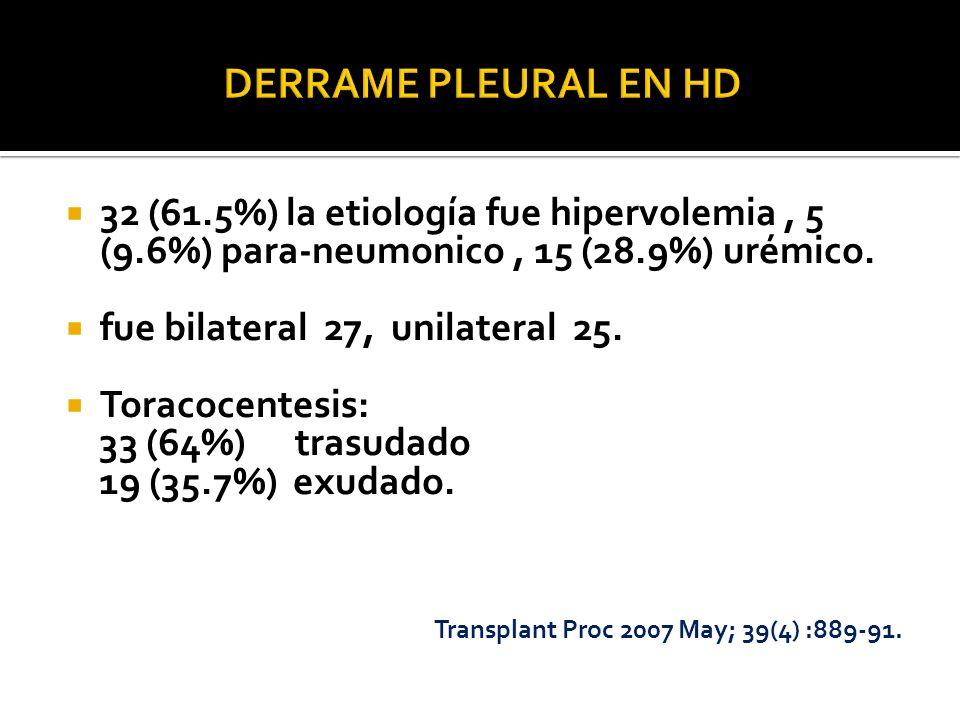 DERRAME PLEURAL EN HD 32 (61.5%) la etiología fue hipervolemia , 5 (9.6%) para-neumonico , 15 (28.9%) urémico.