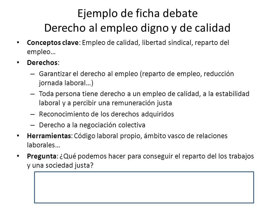 Ejemplo de ficha debate Derecho al empleo digno y de calidad