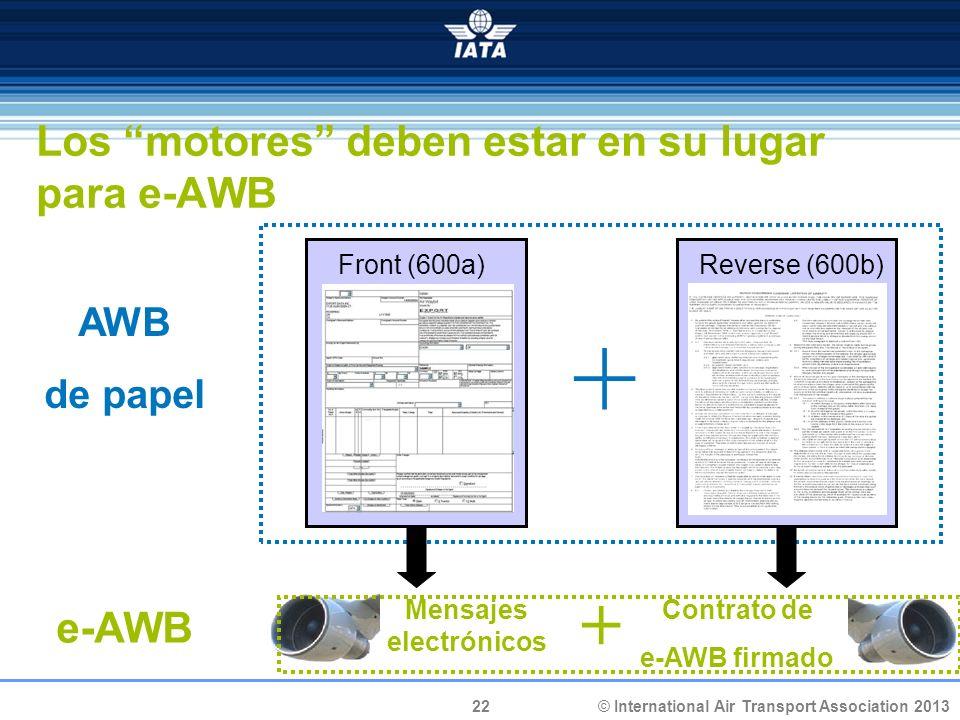 Los motores deben estar en su lugar para e-AWB