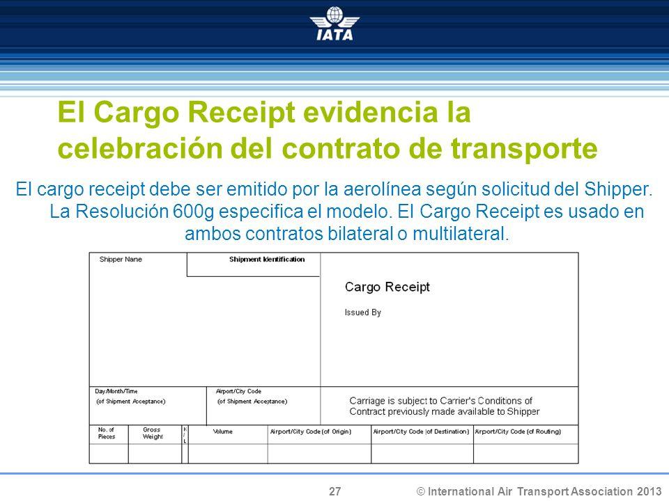El Cargo Receipt evidencia la celebración del contrato de transporte