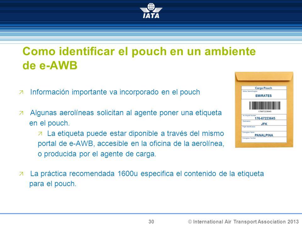 Como identificar el pouch en un ambiente de e-AWB