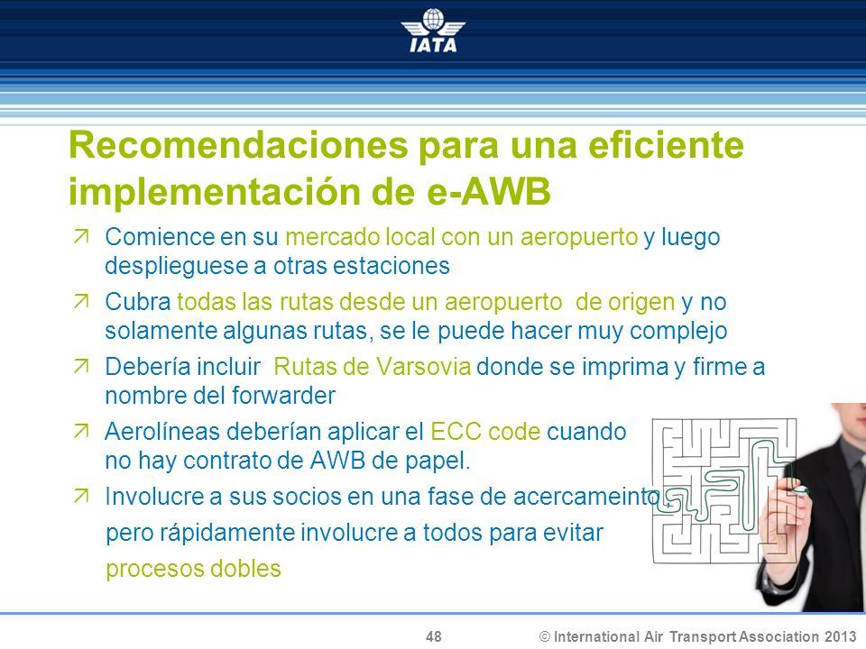 Recomendaciones para una eficiente implementación de e-AWB
