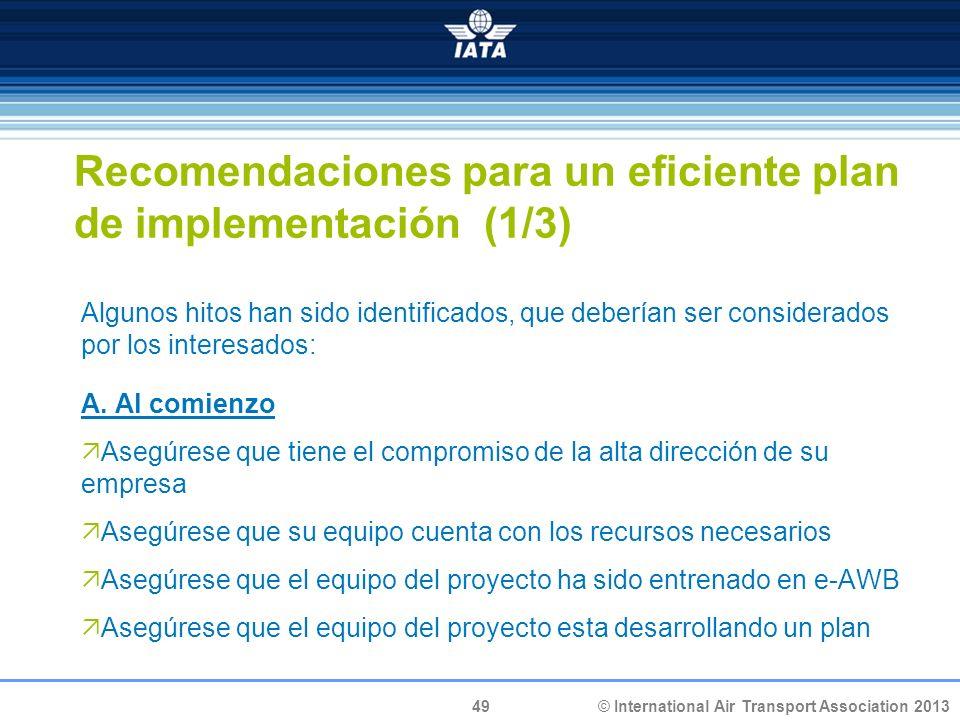 Recomendaciones para un eficiente plan de implementación (1/3)