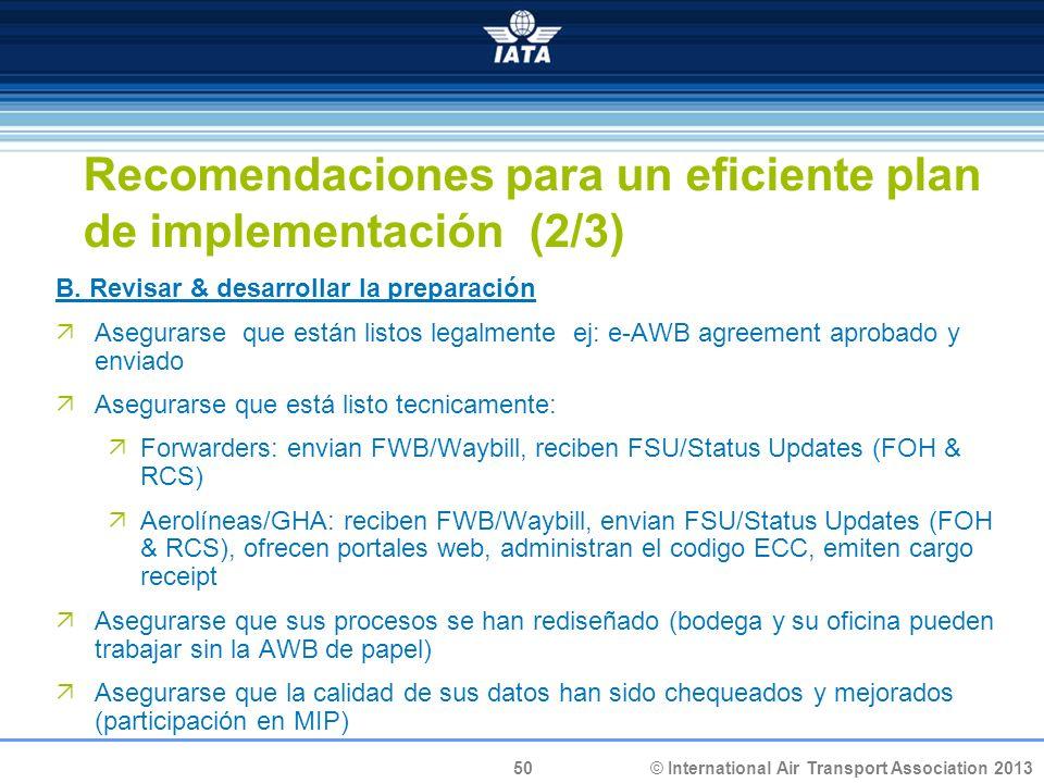 Recomendaciones para un eficiente plan de implementación (2/3)