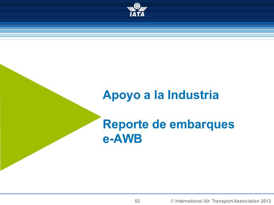 Apoyo a la Industria Reporte de embarques e-AWB