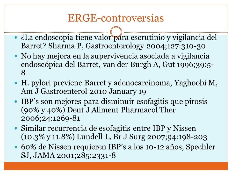 ERGE-controversias ¿La endoscopia tiene valor para escrutinio y vigilancia del Barret Sharma P, Gastroenterology 2004;127:310-30.