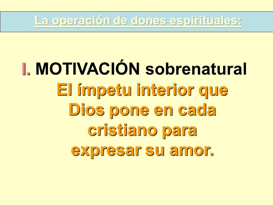 La operación de dones espirituales: I. MOTIVACIÓN sobrenatural