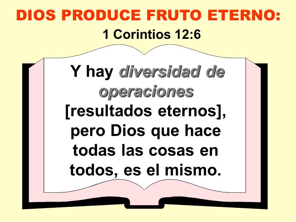 DIOS PRODUCE FRUTO ETERNO: