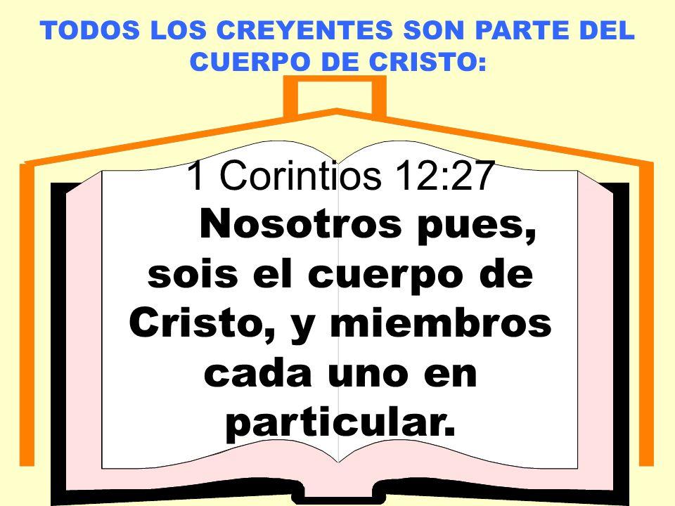 TODOS LOS CREYENTES SON PARTE DEL CUERPO DE CRISTO: