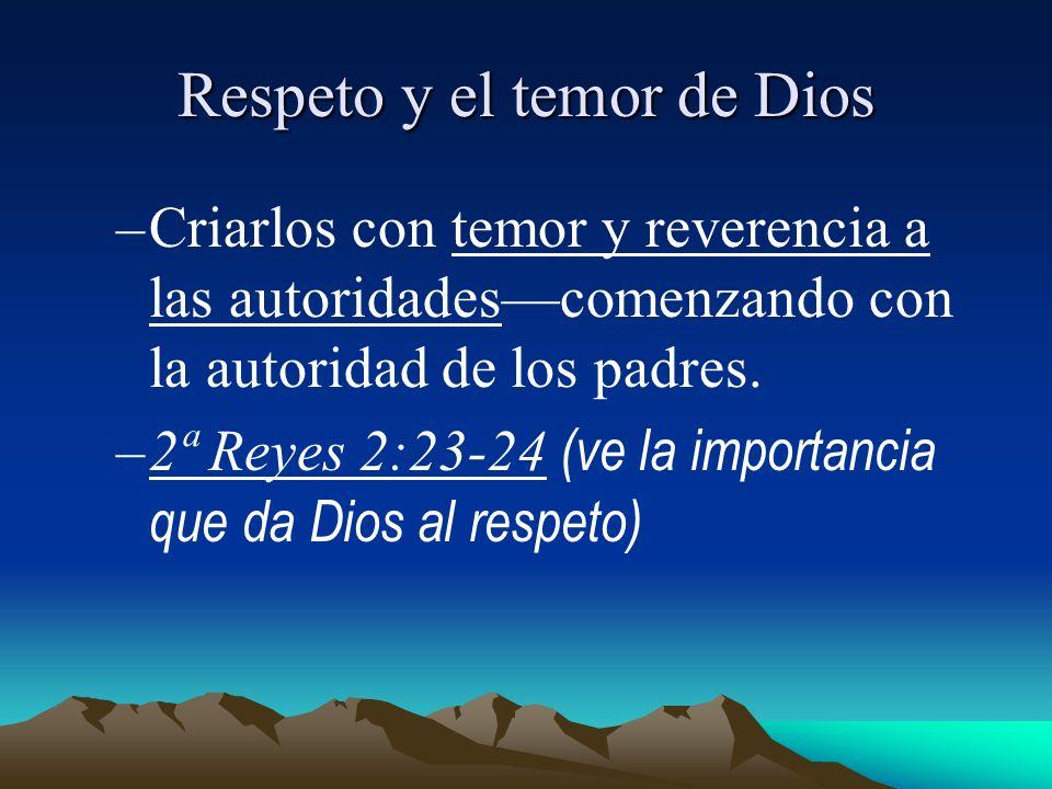 Respeto y el temor de Dios