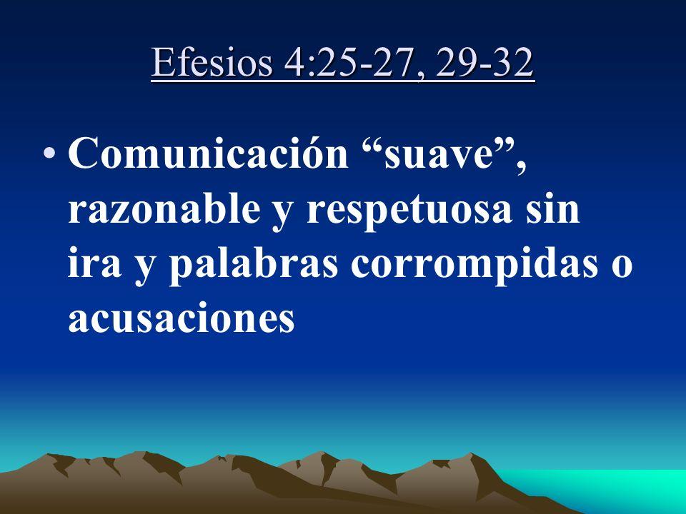 Efesios 4:25-27, 29-32 Comunicación suave , razonable y respetuosa sin ira y palabras corrompidas o acusaciones.