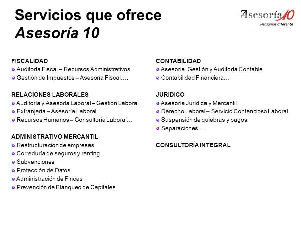 Servicios que ofrece Asesoría 10