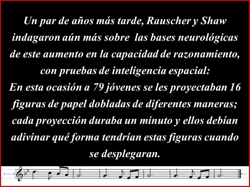 Un par de años más tarde, Rauscher y Shaw indagaron aún más sobre las bases neurológicas de este aumento en la capacidad de razonamiento, con pruebas de inteligencia espacial: