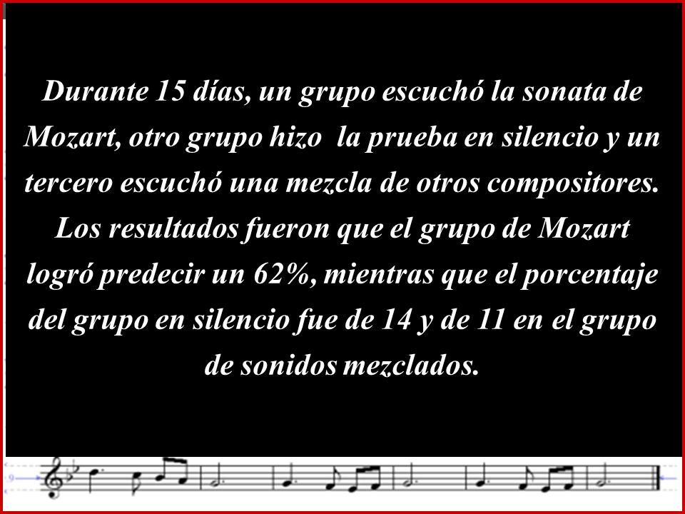 Durante 15 días, un grupo escuchó la sonata de Mozart, otro grupo hizo la prueba en silencio y un tercero escuchó una mezcla de otros compositores.