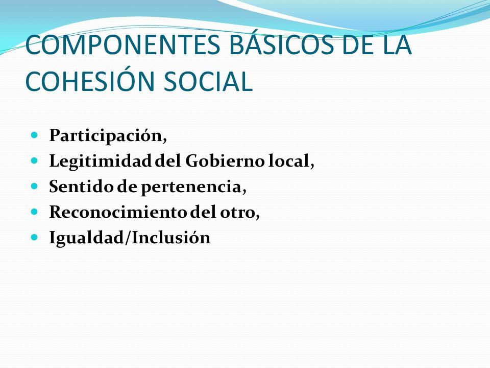 COMPONENTES BÁSICOS DE LA COHESIÓN SOCIAL