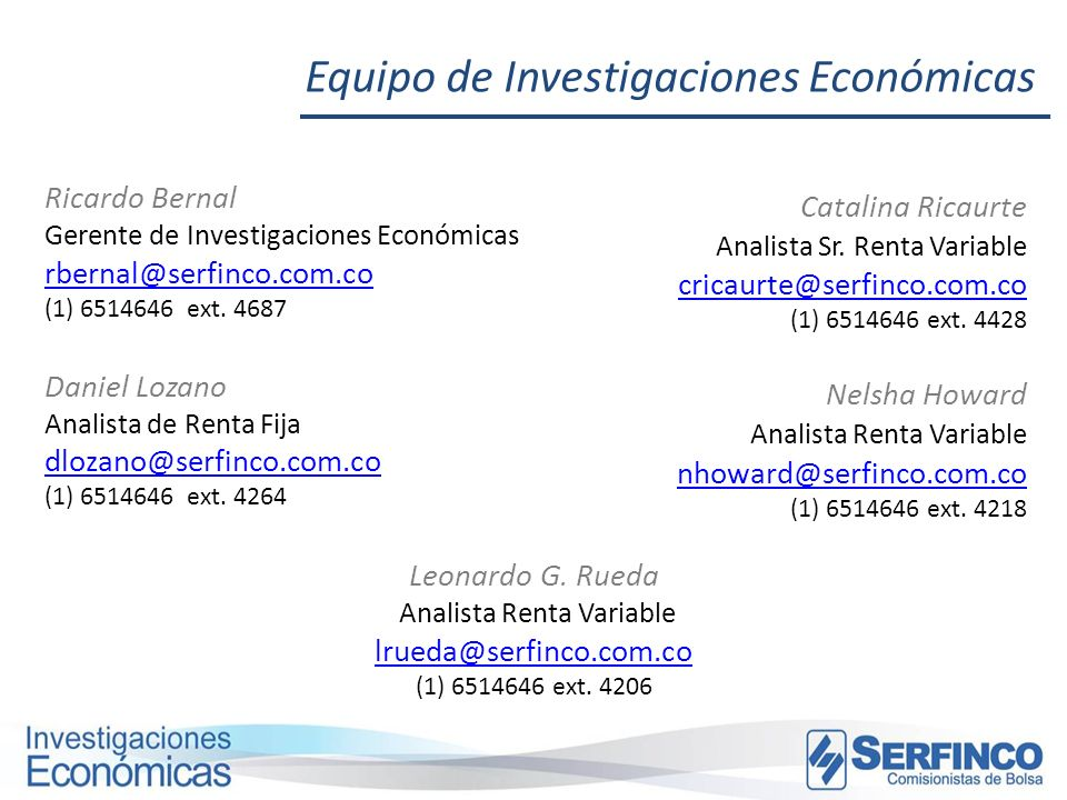 Analista Renta Variable lrueda@serfinco.com.co (1) 6514646 ext. 4206