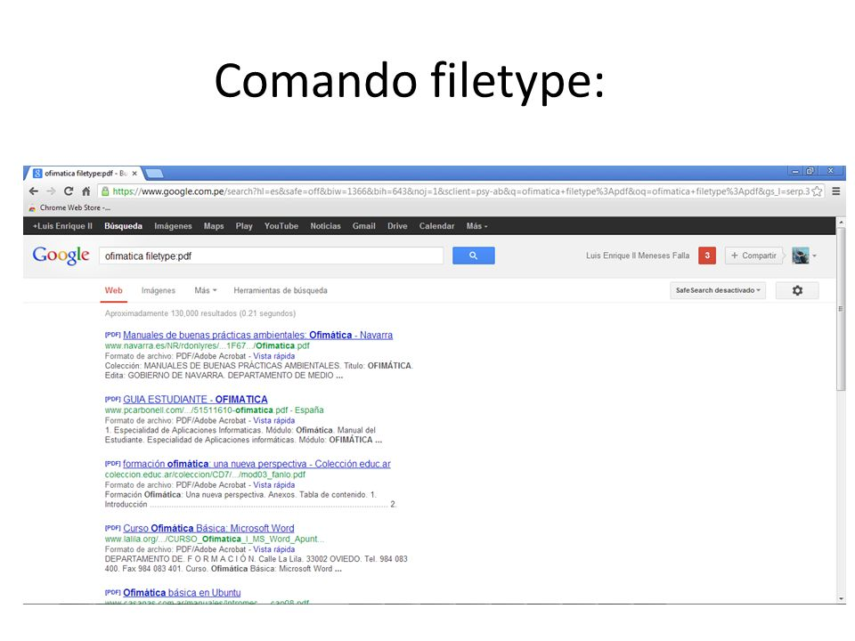Comando filetype: