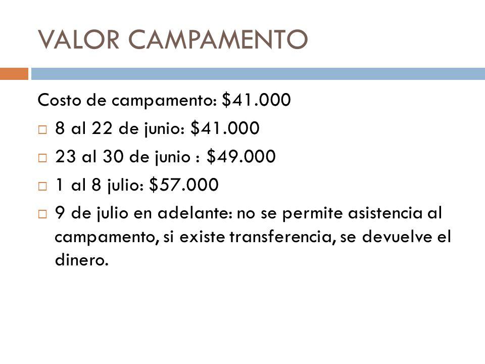 VALOR CAMPAMENTO Costo de campamento: $41.000