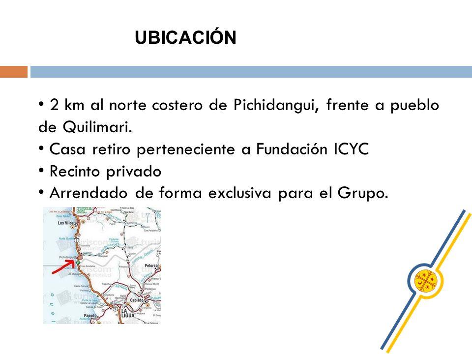 UBICACIÓN 2 km al norte costero de Pichidangui, frente a pueblo de Quilimari. Casa retiro perteneciente a Fundación ICYC.