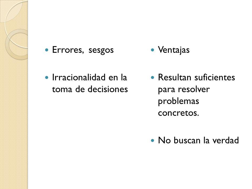 Errores, sesgos Irracionalidad en la toma de decisiones. Ventajas. Resultan suficientes para resolver problemas concretos.