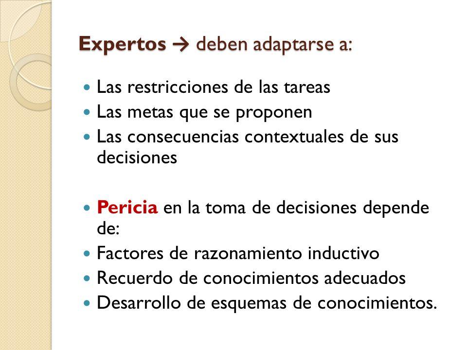 Expertos → deben adaptarse a:
