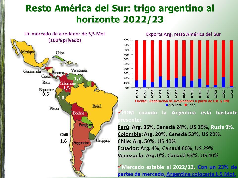 Resto América del Sur: trigo argentino al horizonte 2022/23