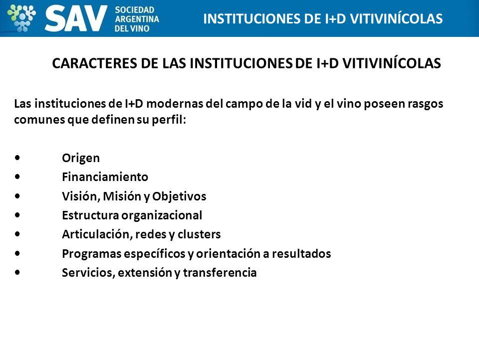 CARACTERES DE LAS INSTITUCIONES DE I+D VITIVINÍCOLAS