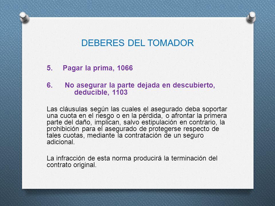 DEBERES DEL TOMADOR 5. Pagar la prima, 1066