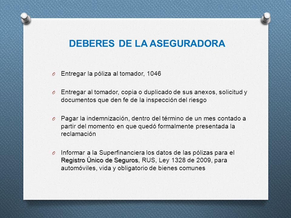 DEBERES DE LA ASEGURADORA