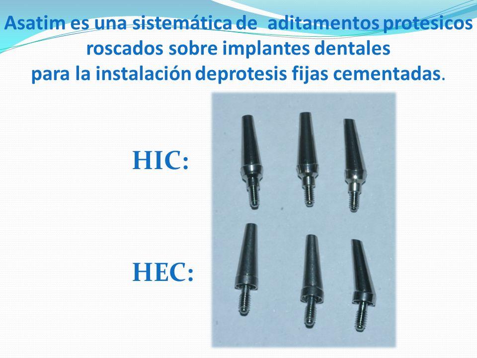 Asatim es una sistemática de aditamentos protesicos roscados sobre implantes dentales para la instalación deprotesis fijas cementadas.