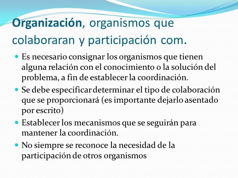 Organización, organismos que colaboraran y participación com.