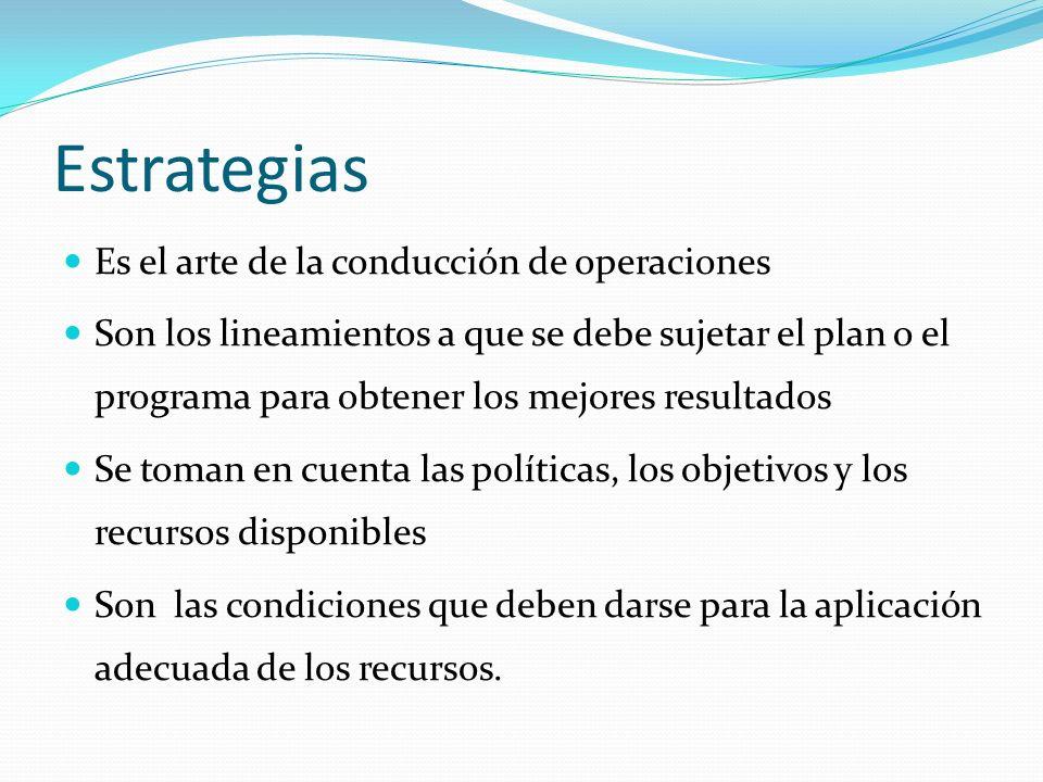 Estrategias Es el arte de la conducción de operaciones