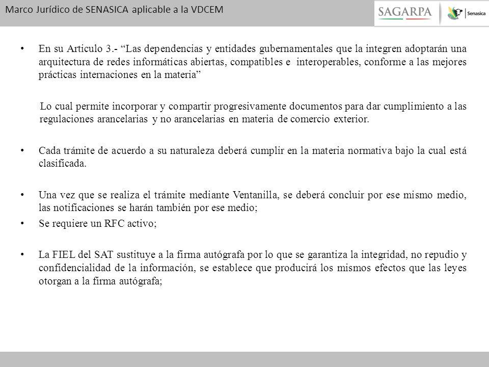 Marco Jurídico de SENASICA aplicable a la VDCEM