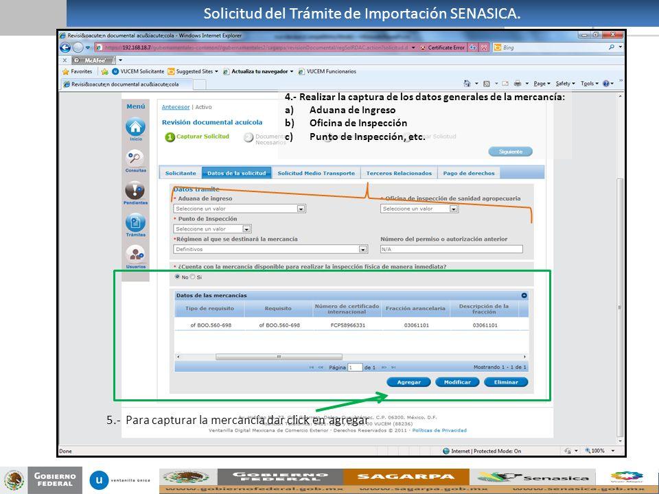 Solicitud del Trámite de Importación SENASICA.