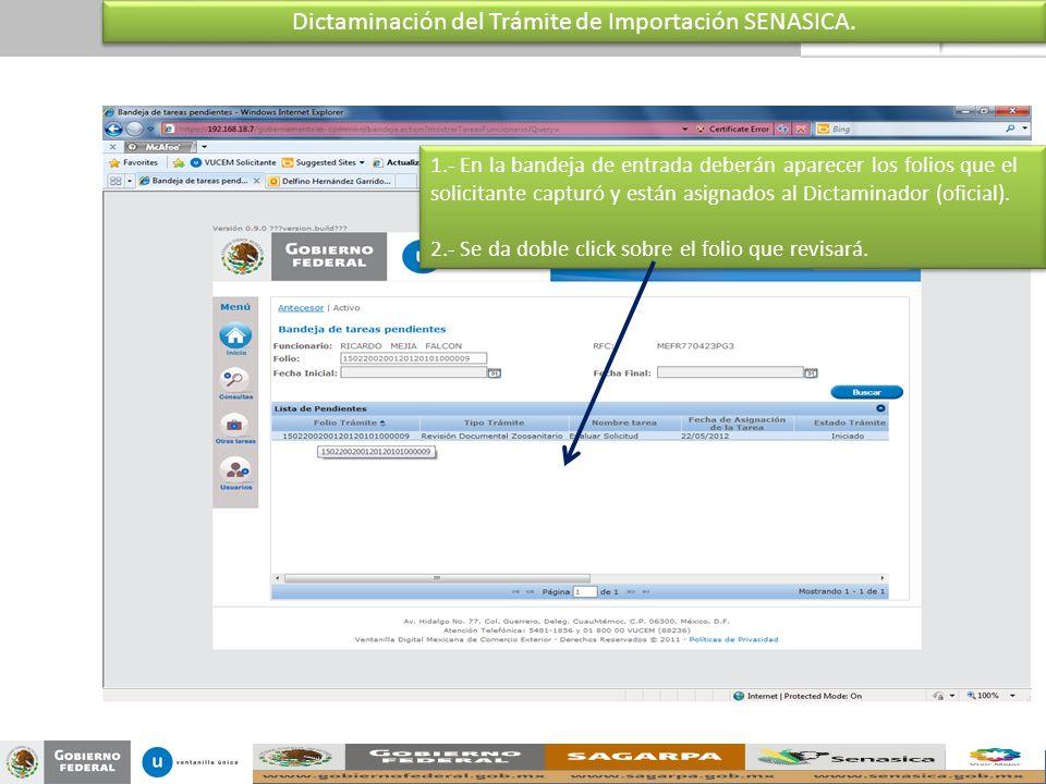 Dictaminación del Trámite de Importación SENASICA.