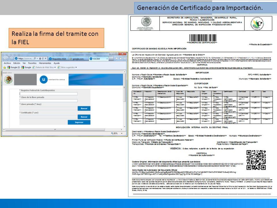 Generación de Certificado para Importación.