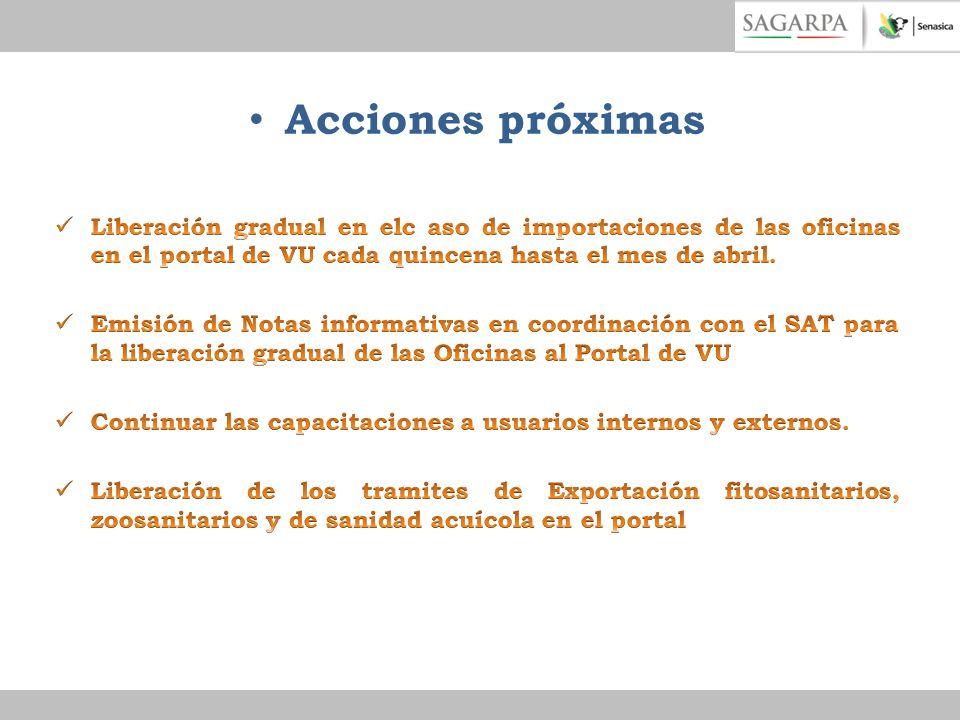 Acciones próximas Liberación gradual en elc aso de importaciones de las oficinas en el portal de VU cada quincena hasta el mes de abril.