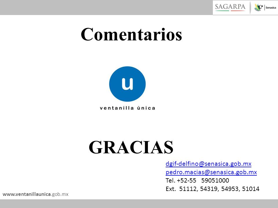 GRACIAS Comentarios dgif-delfino@senasica.gob.mx