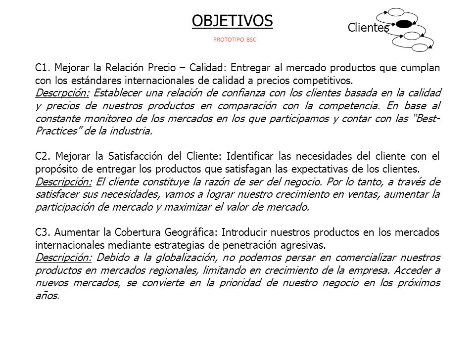 OBJETIVOS Clientes. PROTOTIPO BSC.