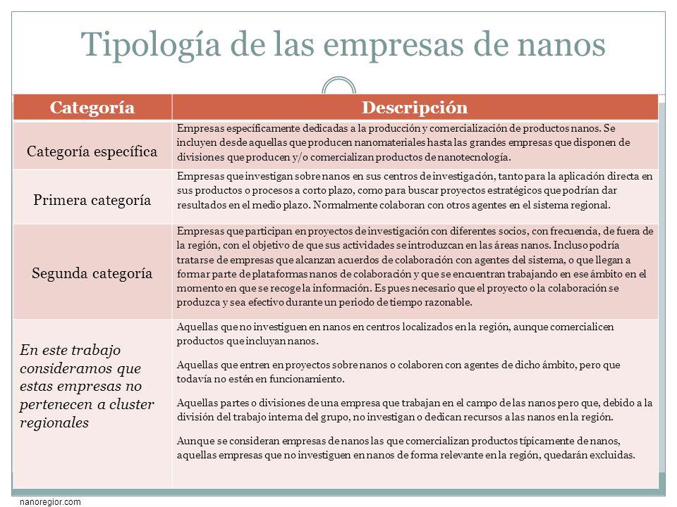 Tipología de las empresas de nanos
