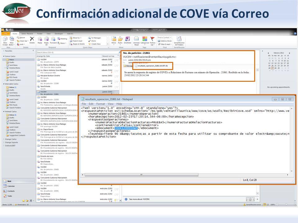 Confirmación adicional de COVE vía Correo