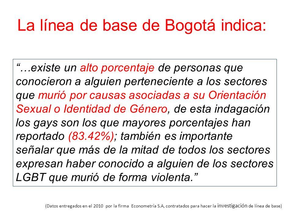 La línea de base de Bogotá indica:
