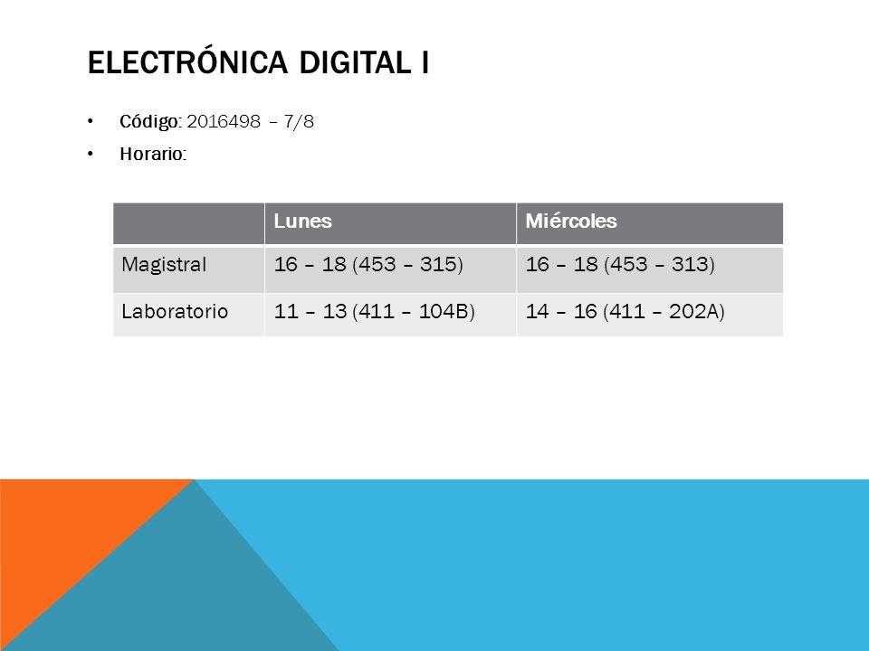 Electrónica digital i Lunes Miércoles Magistral 16 – 18 (453 – 315)