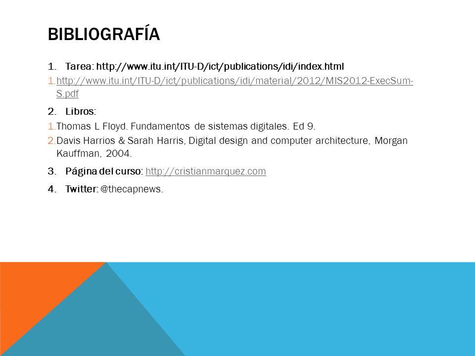 bibliografía Tarea: http://www.itu.int/ITU-D/ict/publications/idi/index.html.