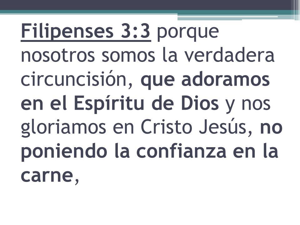 Filipenses 3:3 porque nosotros somos la verdadera circuncisión, que adoramos en el Espíritu de Dios y nos gloriamos en Cristo Jesús, no poniendo la confianza en la carne,