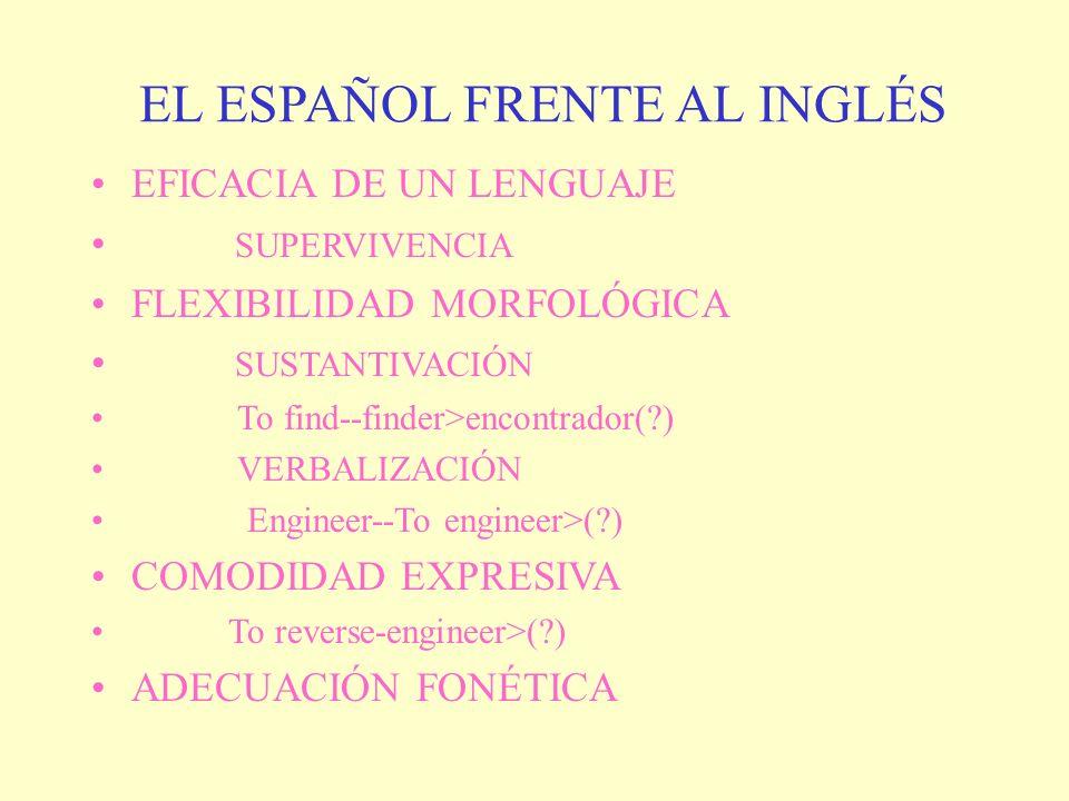 EL ESPAÑOL FRENTE AL INGLÉS
