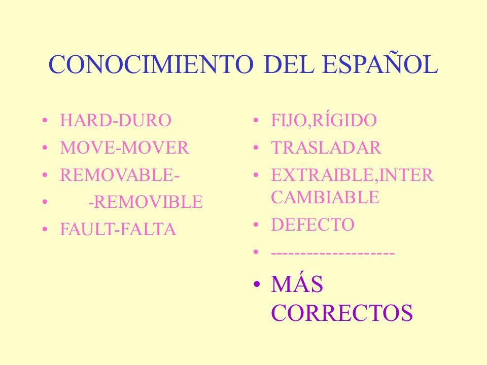 CONOCIMIENTO DEL ESPAÑOL