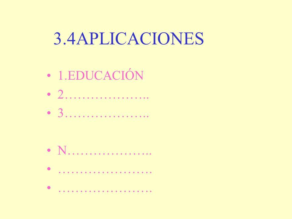 3.4APLICACIONES 1.EDUCACIÓN 2……………….. 3……………….. N……………….. ………………….