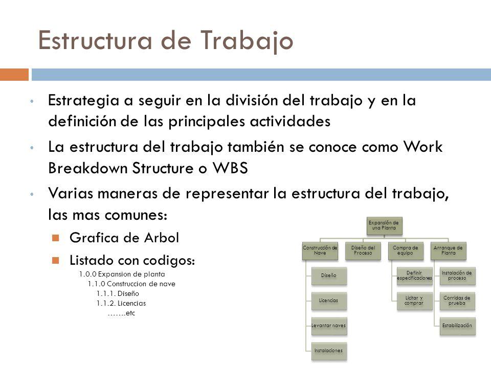 Estructura de Trabajo Estrategia a seguir en la división del trabajo y en la definición de las principales actividades.